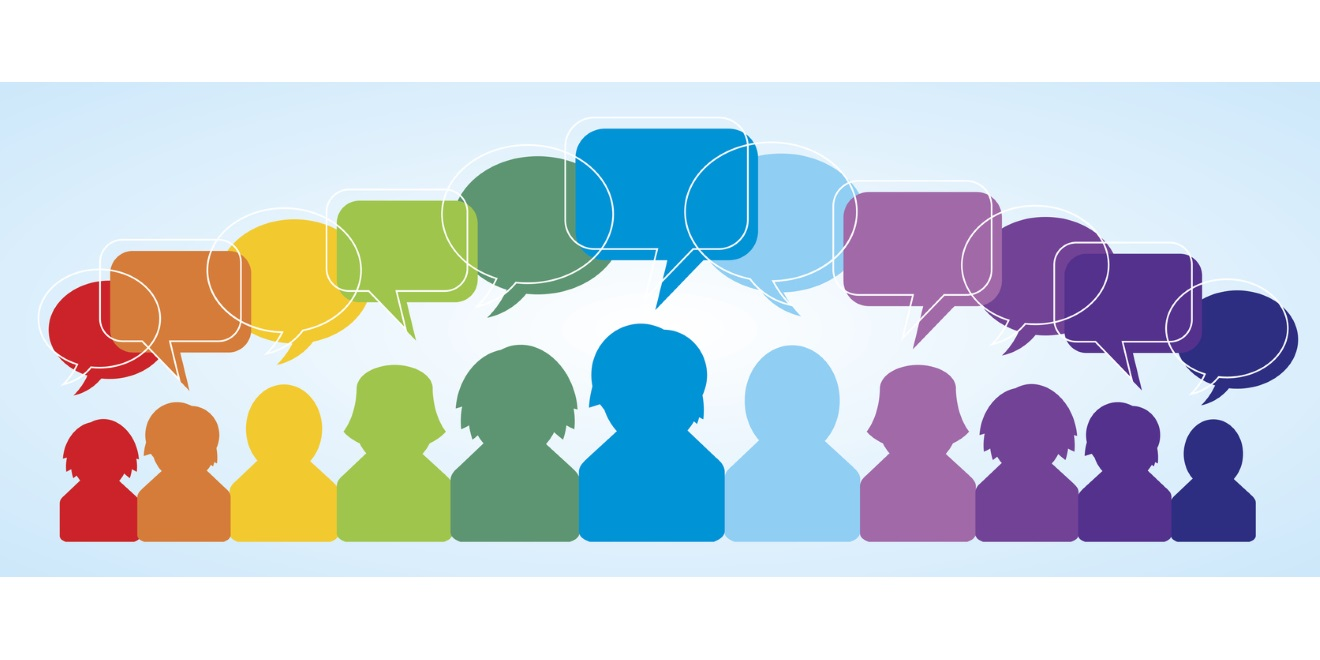 Group of Online students Social Learning Conversation Bubbles