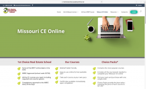 1st Choice Real Estate School LMS homepage.