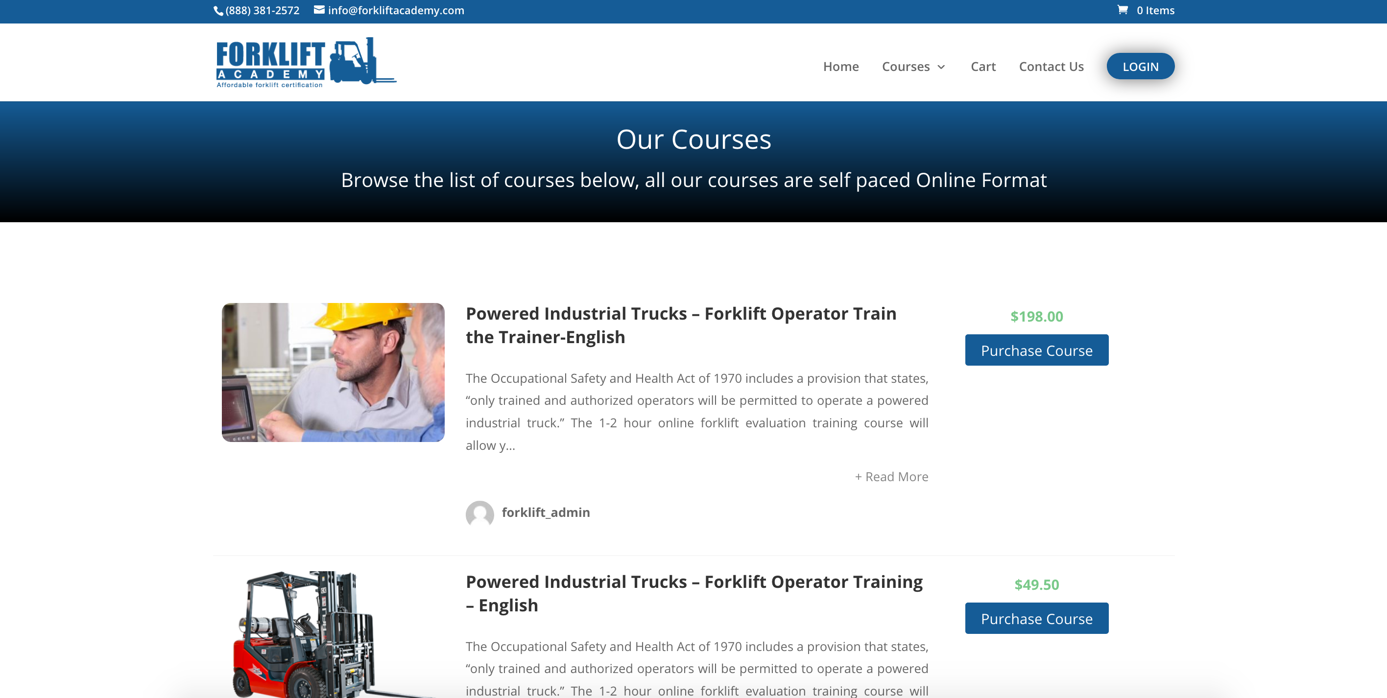 Forklift academy company website sells safety training online courses with LMS e-learning eLearning platform