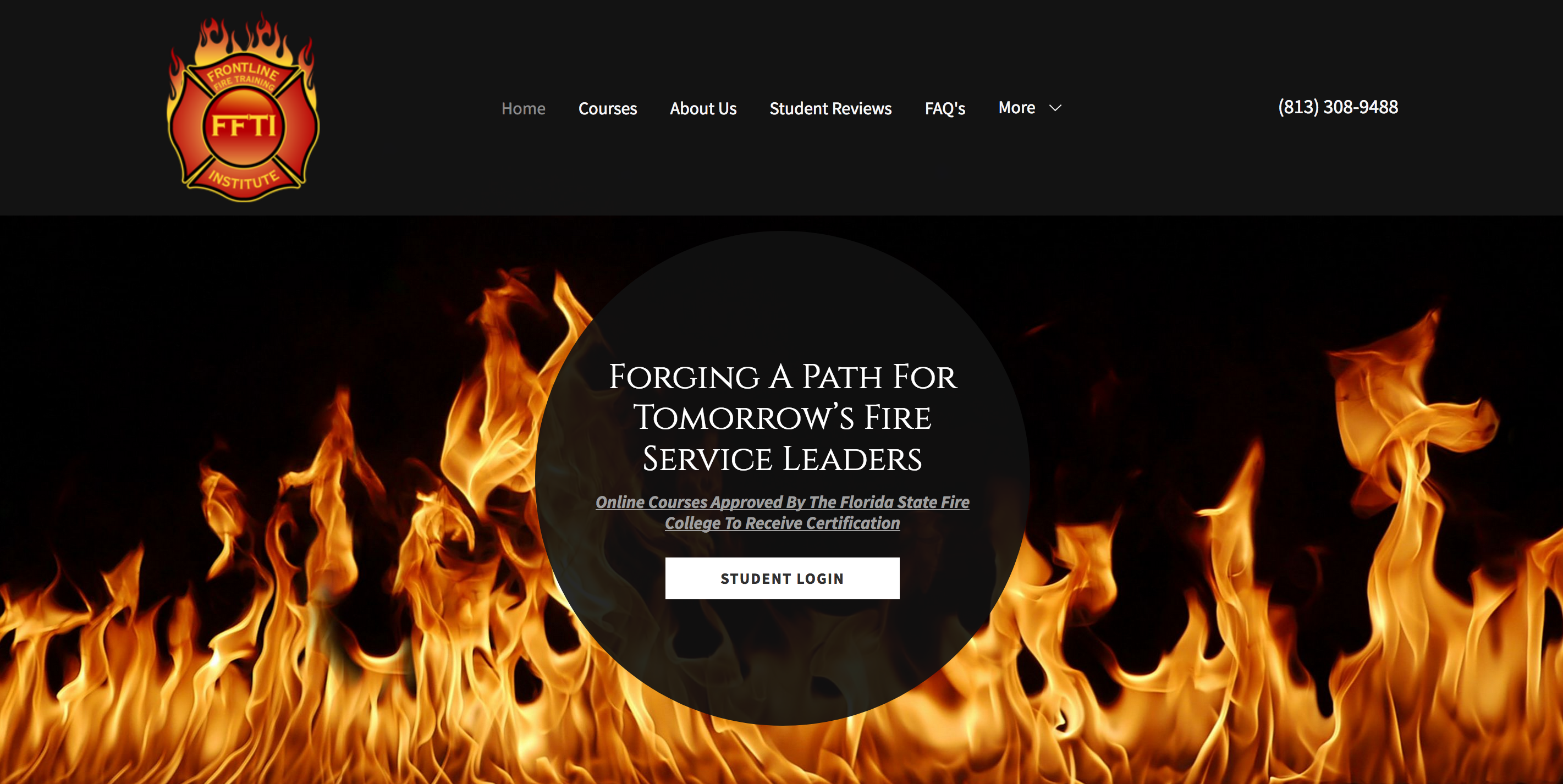 website of fire safety company selling firefighting fire safety online courses with LMS eLearning platform