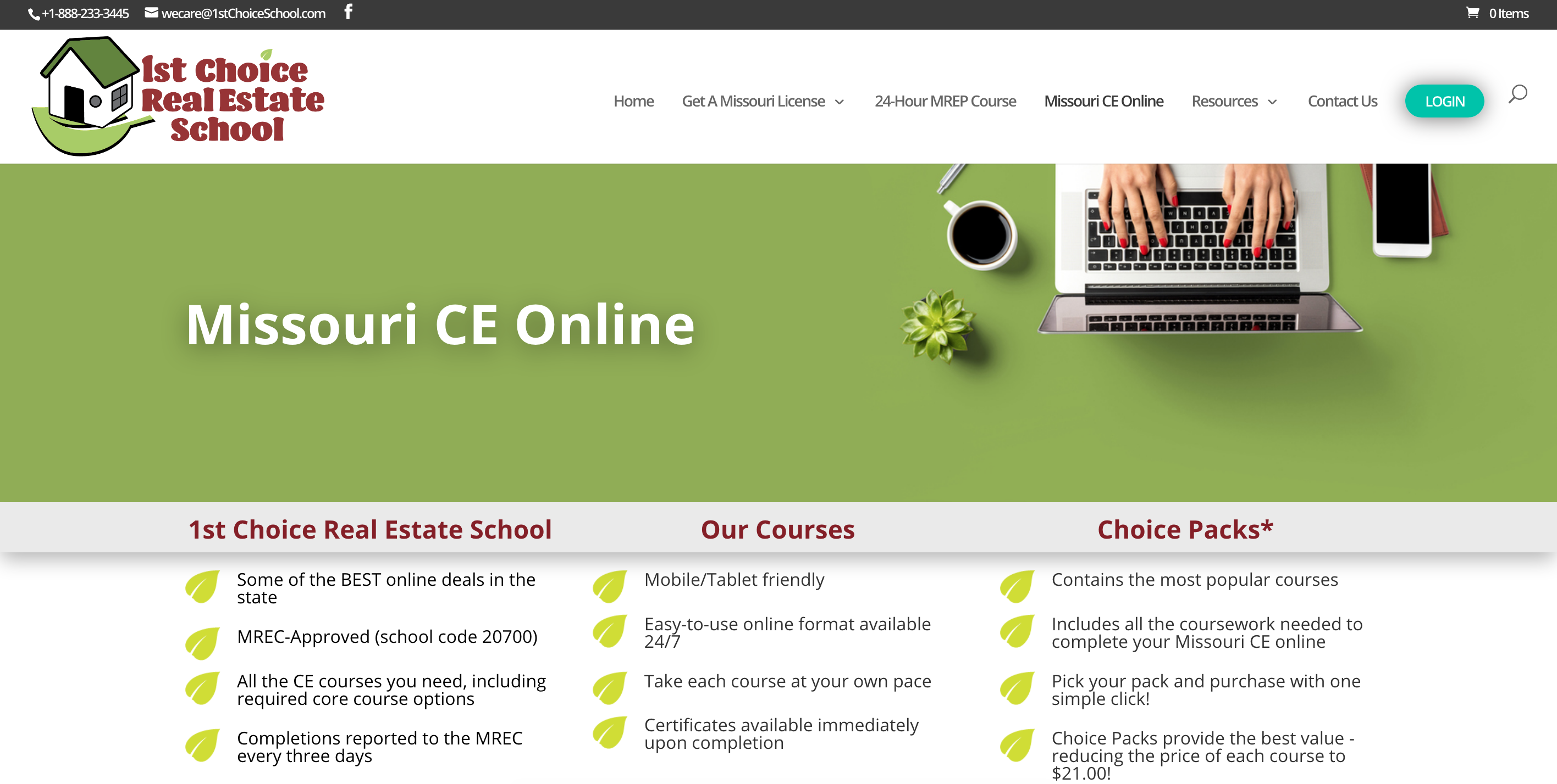 1st Choice Real Estate School website sell realtor broker online courses with LMS e-learning eLearning platform
