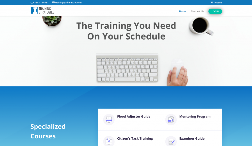 insurance adjuster training company website sells online courses with LMS eLearning platform