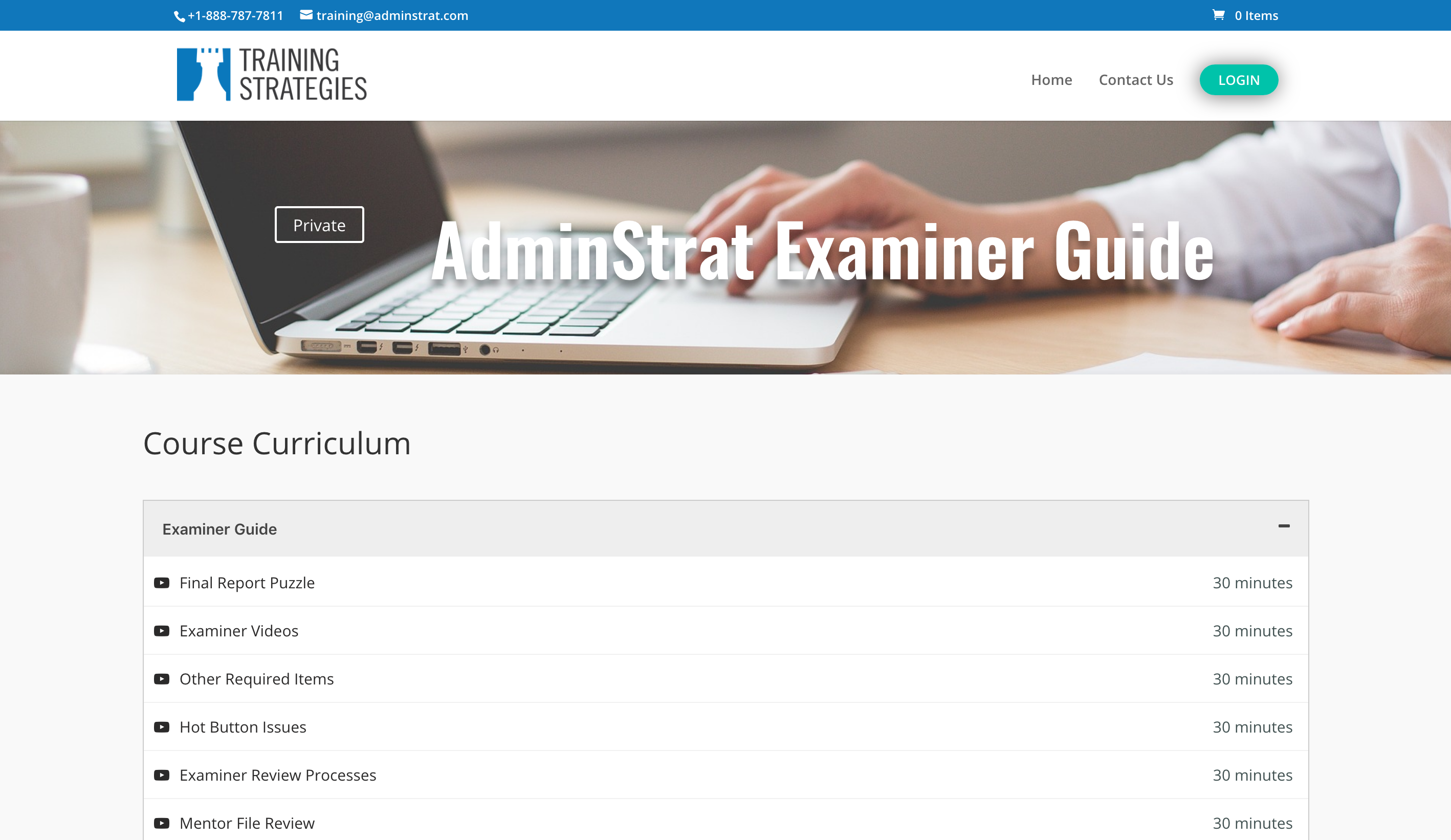 insurance adjuster training company website sells online AdminStrat courses with LMS eLearning platform