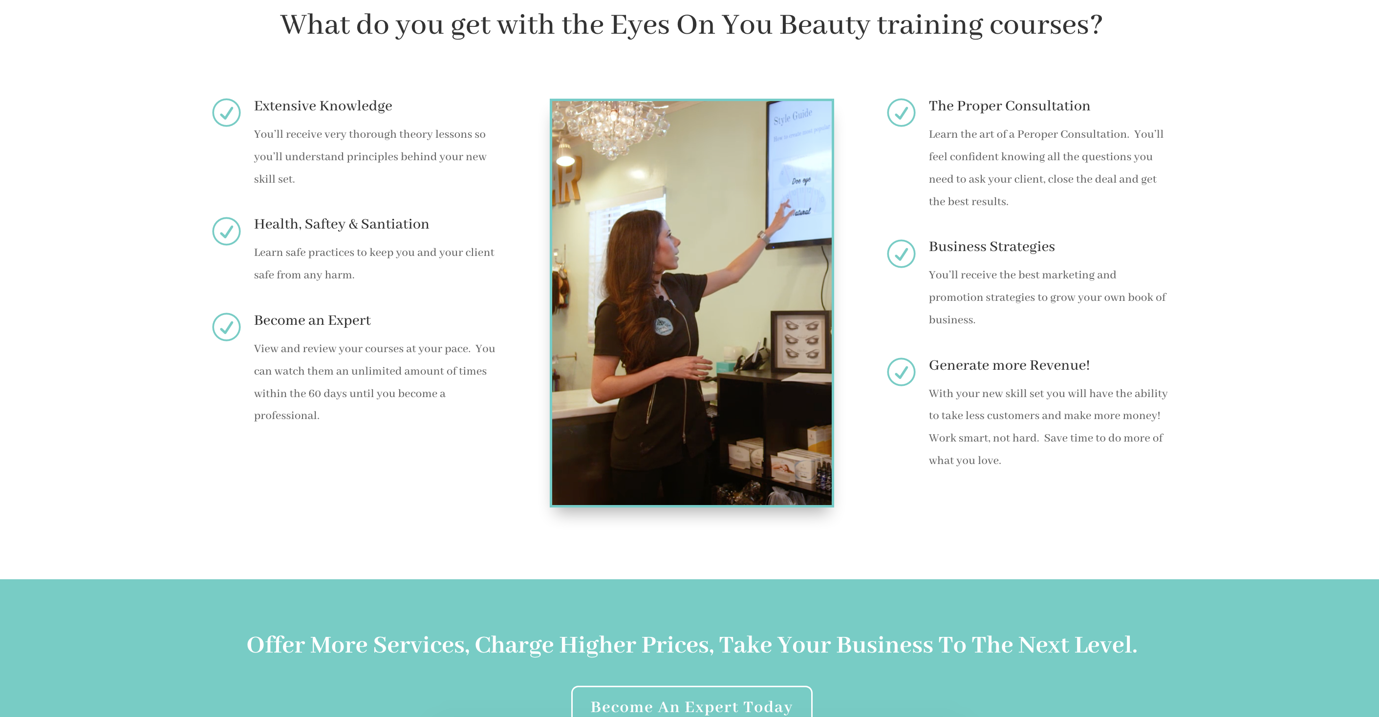 esthetic aesthetician training laser training website selling online courses with LMS eLearning platform