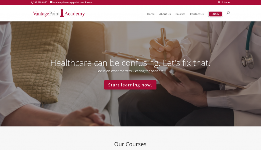 Vantage Point company website sells courses online continuing education CME medical healthcare LMS eLearning platform
