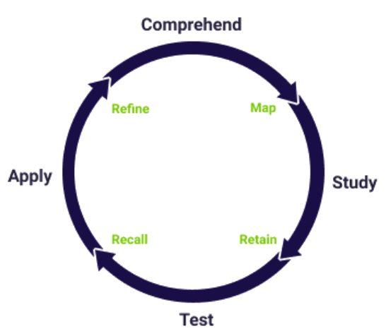 comprehend study test apply diagram elearning study learning cycle